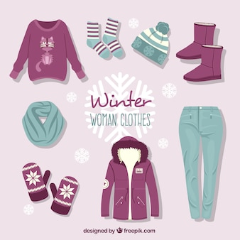 Hand drawn winter clothing collection with accessories