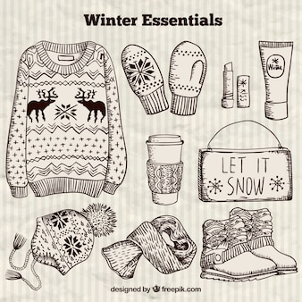 Hand drawn winter essentials