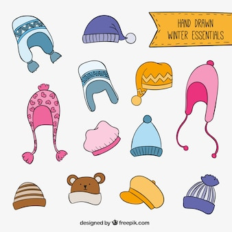 Hand Drawn Winter Hats