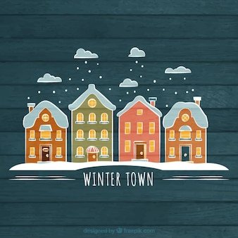 Hand drawn winter town