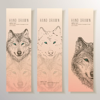 Hand drawn wolf banners