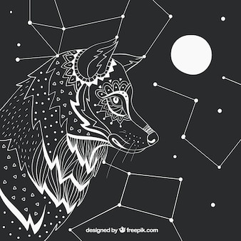 Hand drawn wolf profile background with constellations and moon