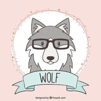 Hand drawn wolf with glasses