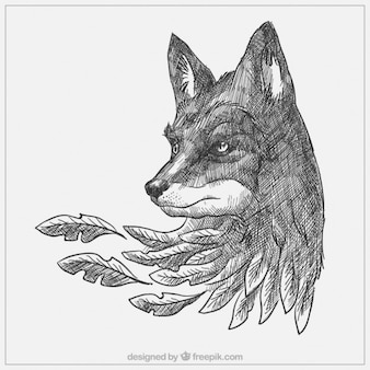 Hand drawn wolf with leaves