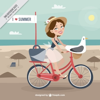 Hand drawn woman on a bike with seagull background