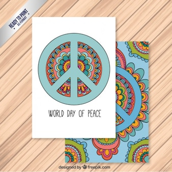 Hand drawn world day of peace card