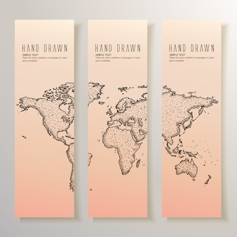 Hand drawn world map banners