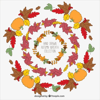 Hand-drawn wreaths with autumnal elements