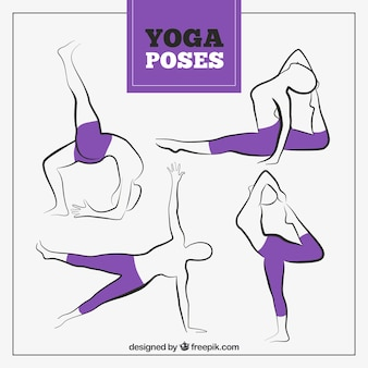 Hand drawn yoga poses with purple leggings