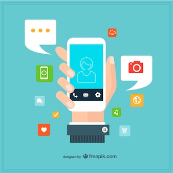 Hand holding a smartphone surrounded by apps