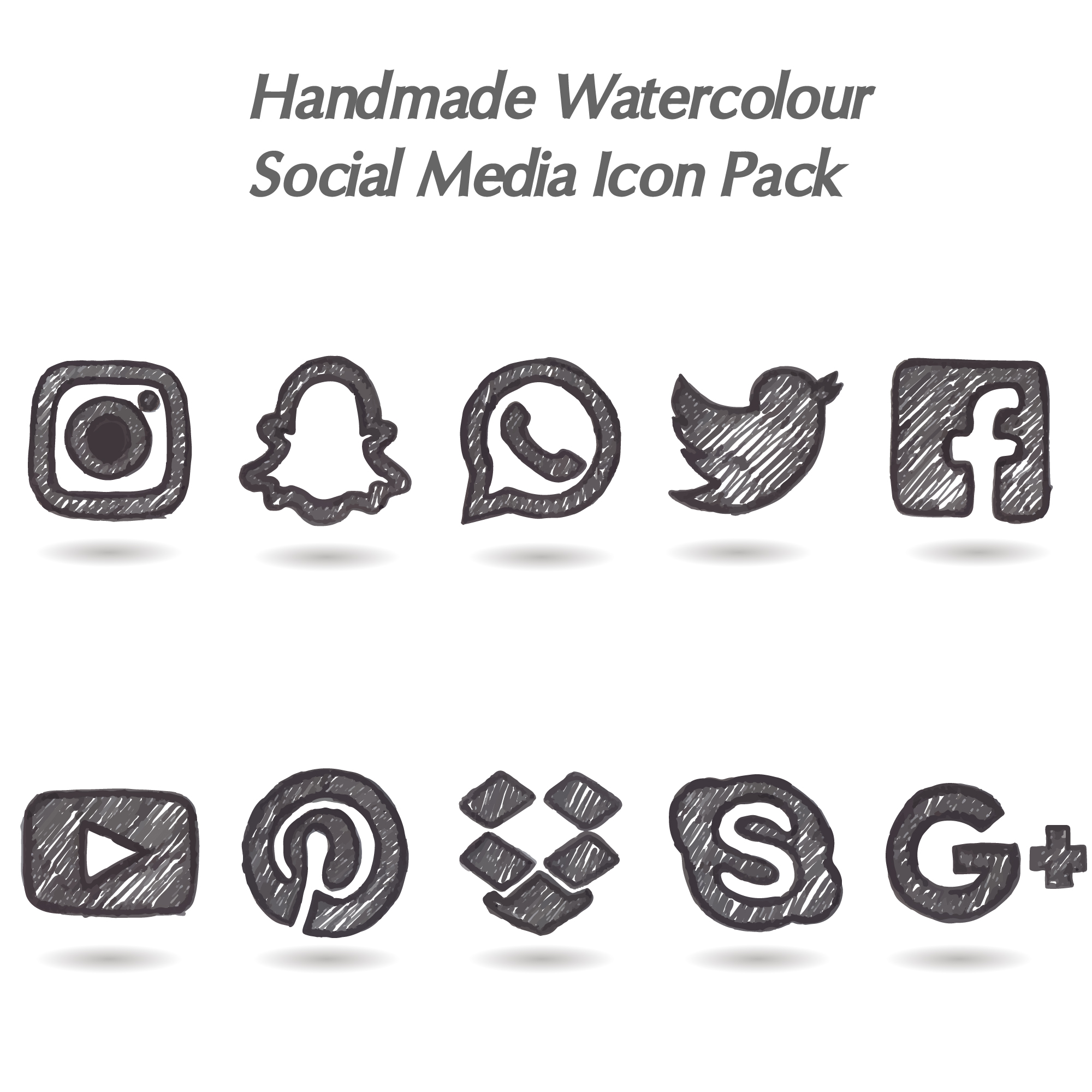 Hand made watercolor social media icon pack