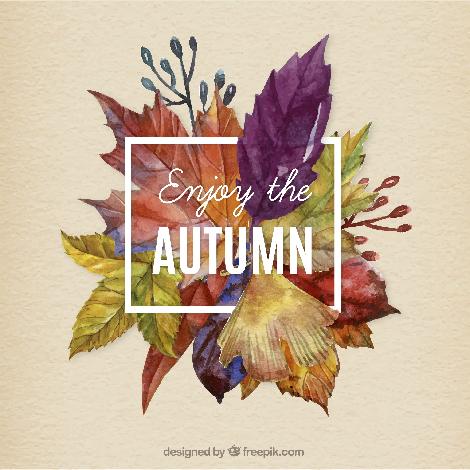 Hand painted autumn leaves background
