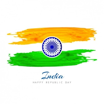 Hand painted background with indian flag
