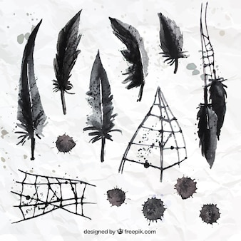 Hand painted black feathers and spider web