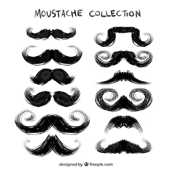 Hand painted black mustaches collection