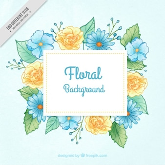 Hand painted blue and yellow flowers background