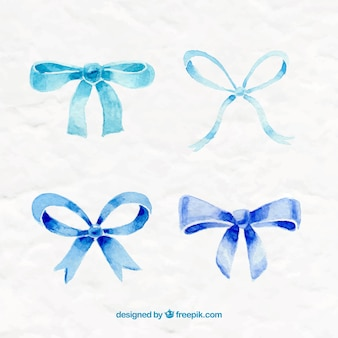 Hand painted blue bows