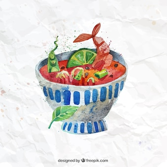 Hand painted bowl of soup