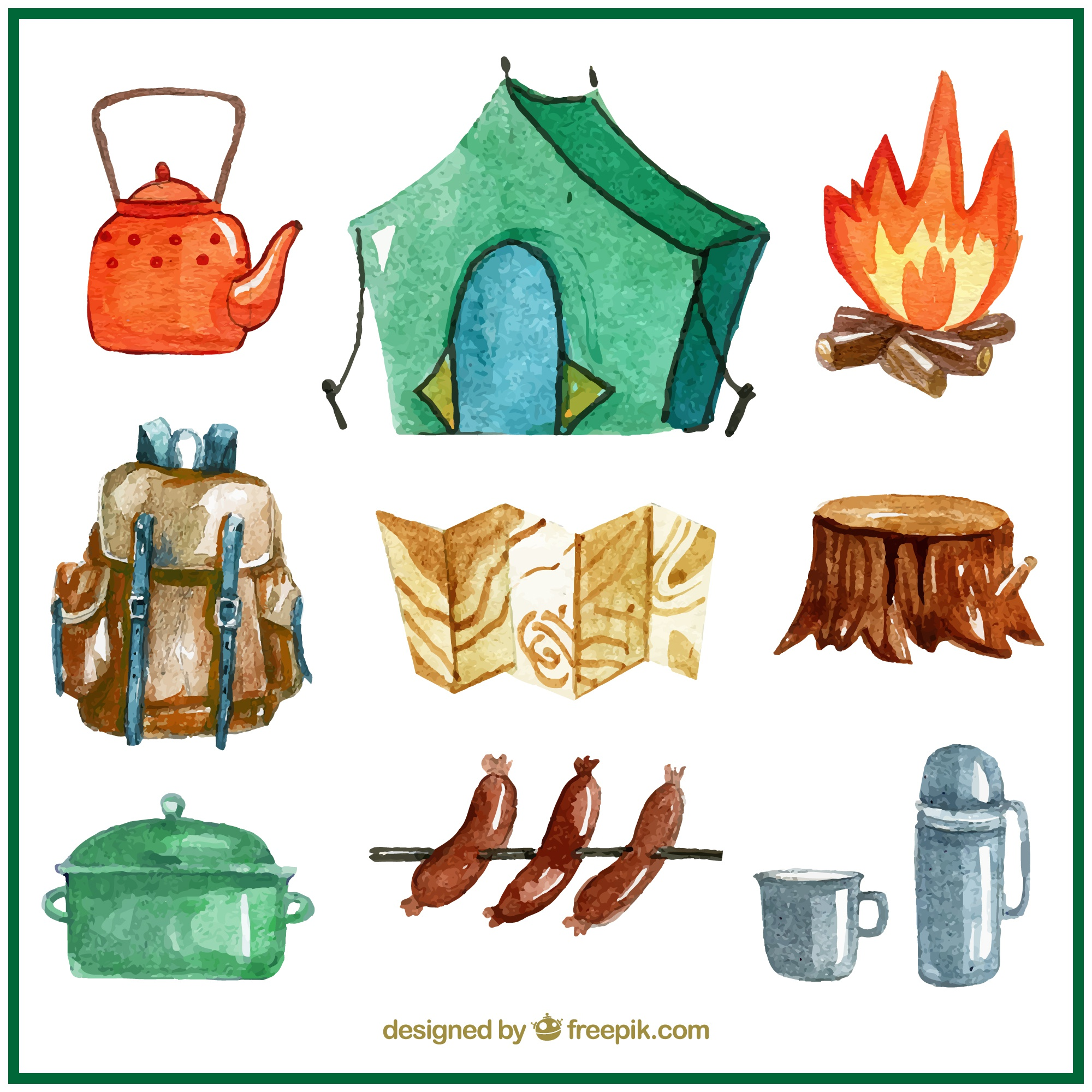 Hand painted campsite accessories pack