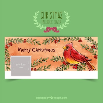 Hand painted christmas bird facebook cover