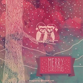 Hand painted christmas forest background