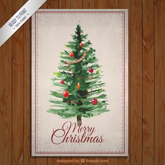 Hand painted christmas tree card