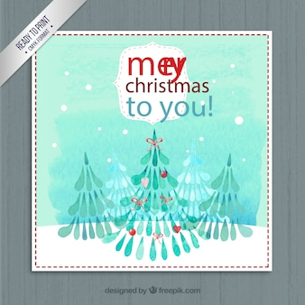 Hand painted christmas trees card