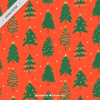 Hand painted christmas trees pattern
