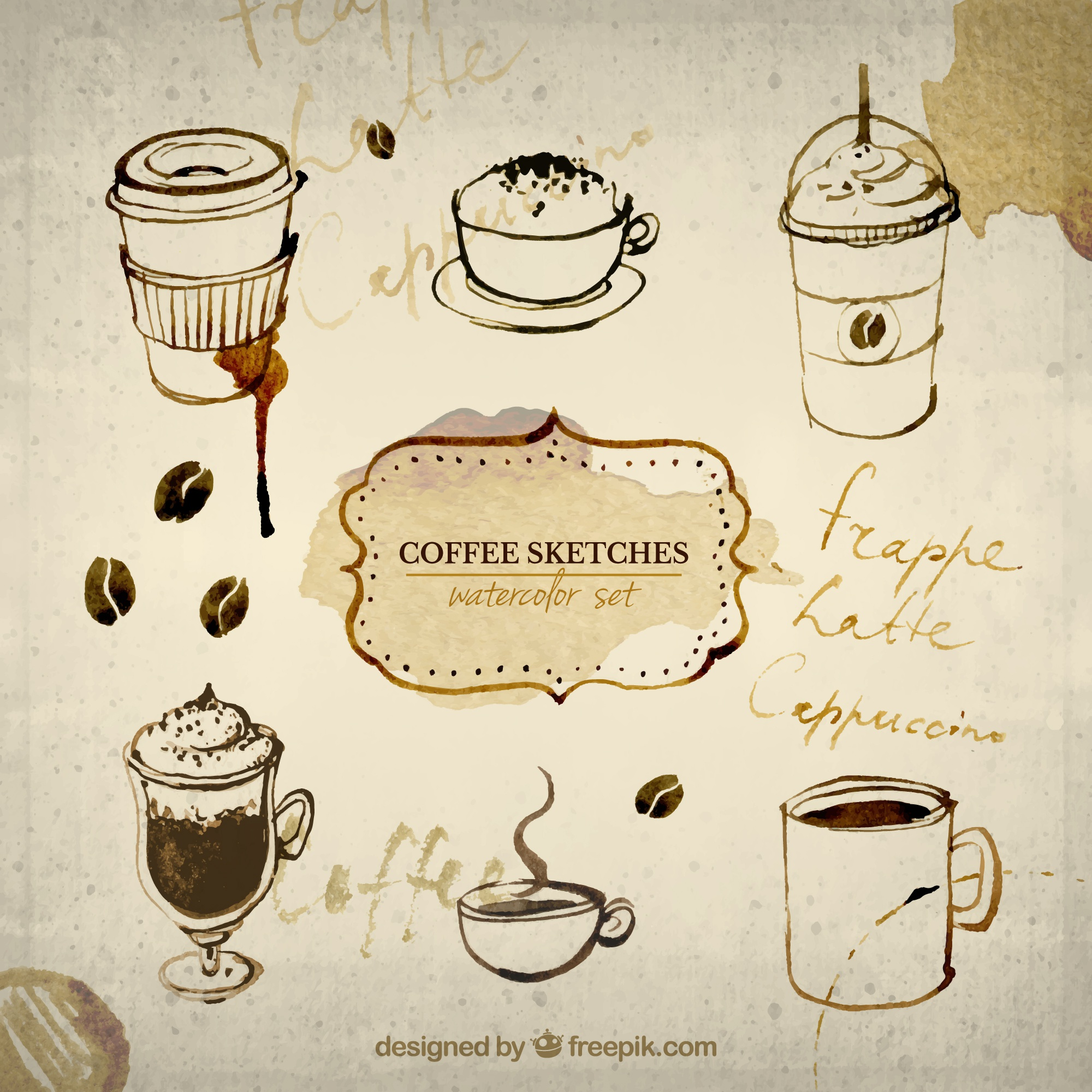 Hand painted coffee sketches