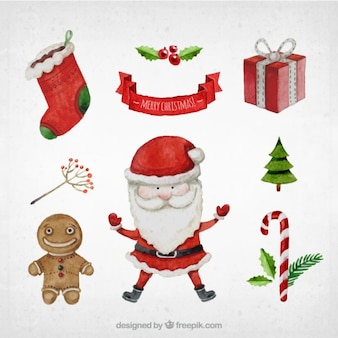 Hand painted collection of christmas elements