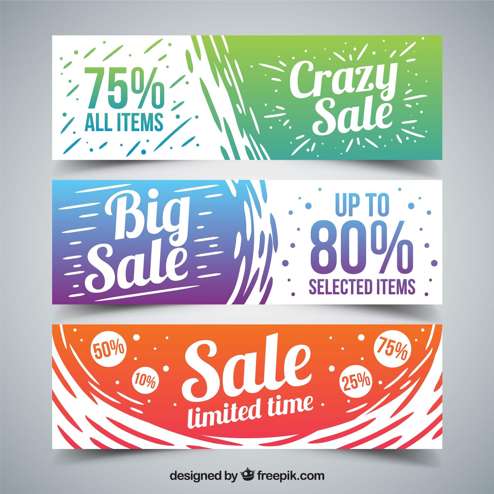 Hand painted colored big sales banners