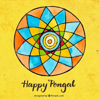 Hand painted colorful Pongal background