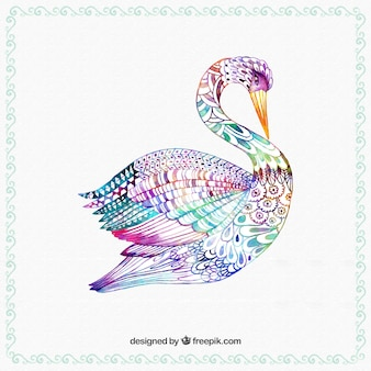 Hand painted colorful swan