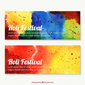 Hand painted colourful banners for Holi Festival