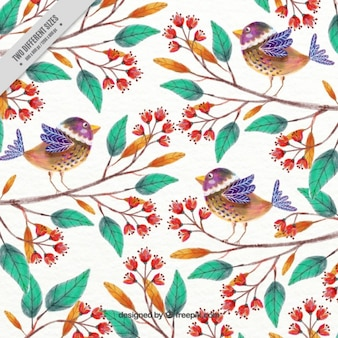 Hand painted cute birds and branches background