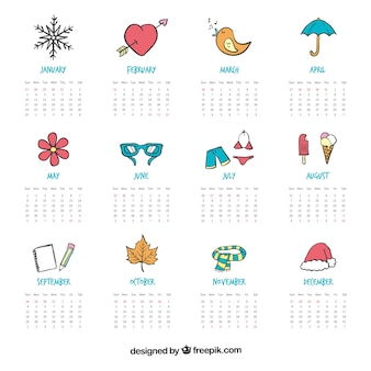 Hand painted cute calendar with drawing