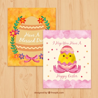 Hand painted cute easter cards