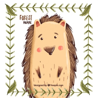 Hand painted cute hedgehog with leaves frame