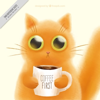 Hand-painted cute kitten with a cup of coffee