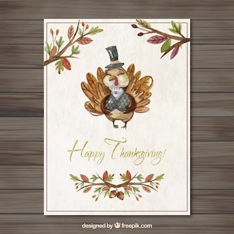 Hand painted cute thanksgiving turkey card