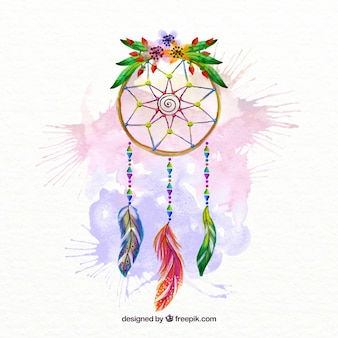 Hand painted dream catcher with watercolor splashes and floral detail