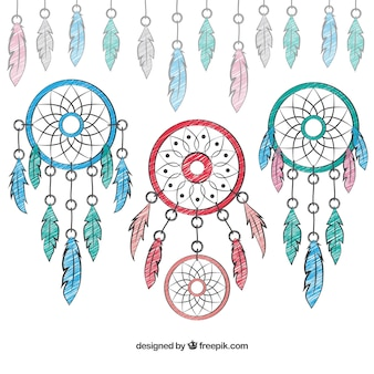 Hand painted dream catchers background