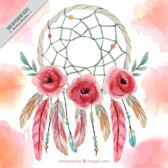 Hand painted dreamcatcher background with flowers and feather