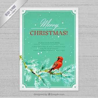 Hand painted elegant christmas card with a bird