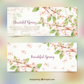 Hand painted elegant floral spring banners