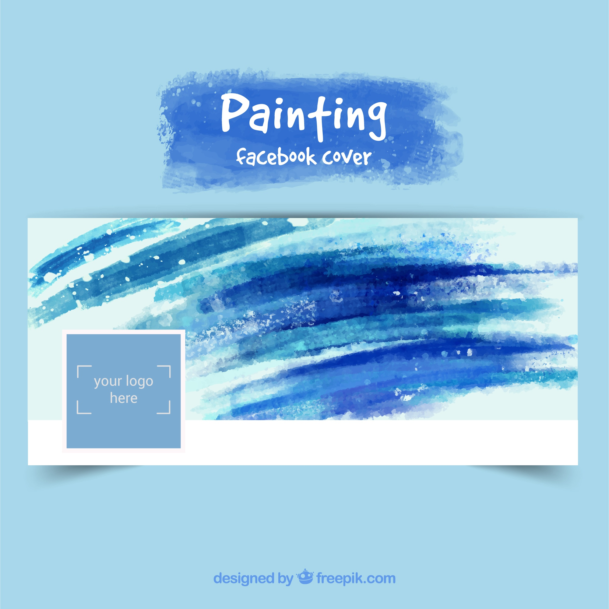 Hand painted facebook cover in blue tones