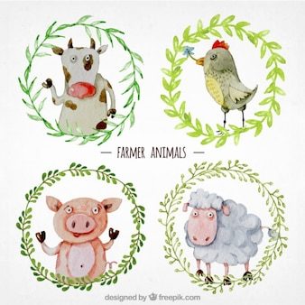 Hand painted farmer animals