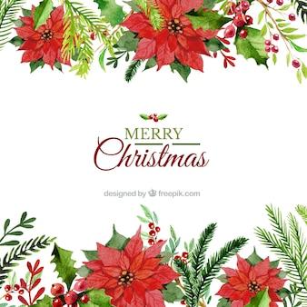 手は花のクリスマスの背景を描い