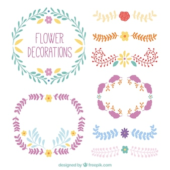 Hand painted floral decorations pack