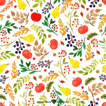 Hand painted floral pattern in colorful style